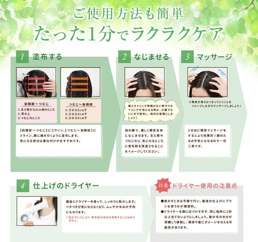 マイナチュレ育毛剤の使い方